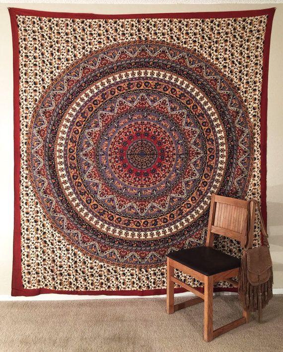 Mandala kunst, Mandala muur opknoping, Boheemse wandtapijten, Hippie wandtapijten, sofa gooien, bed verspreiding, strand gooien, picknick gooien, olifant kunst aan de muur