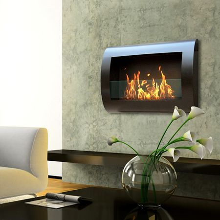Anywhere Fireplace Chelsea Black Indoor Wall Mount Fireplace. Burns Liquid Bio-Ethanol Fuel.
