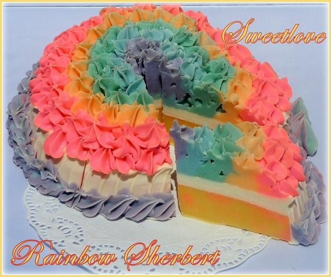 Rainbow Sherbet Soap Cake from Sweetlove Candles & Soap Bakery