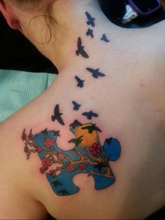 Amazing Puzzle Piece Tattoo for Girls on Back