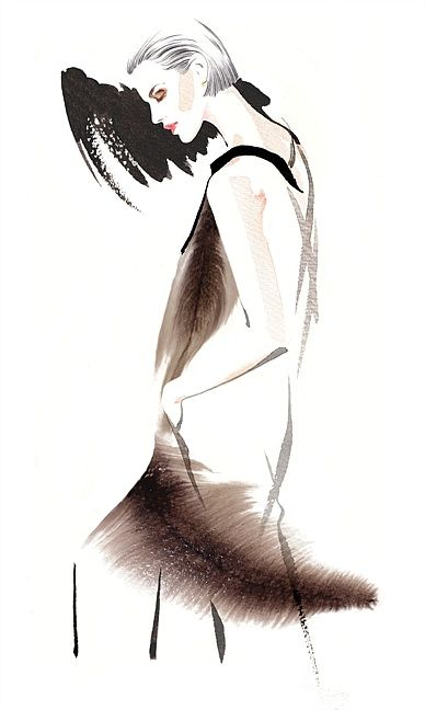 Georgio Armani woman fashion illustration by Katharine Asher
