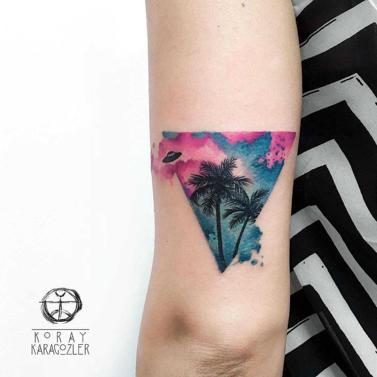 triangle tattoo palm trees with UFO