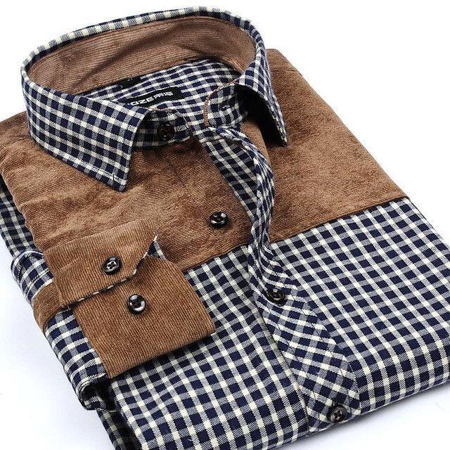 Autumn Winter Men Casual Shirt Patchwork Thick Warm Flannel Fashion Brand Long Sleeve Men Plaid Shirt High Quality