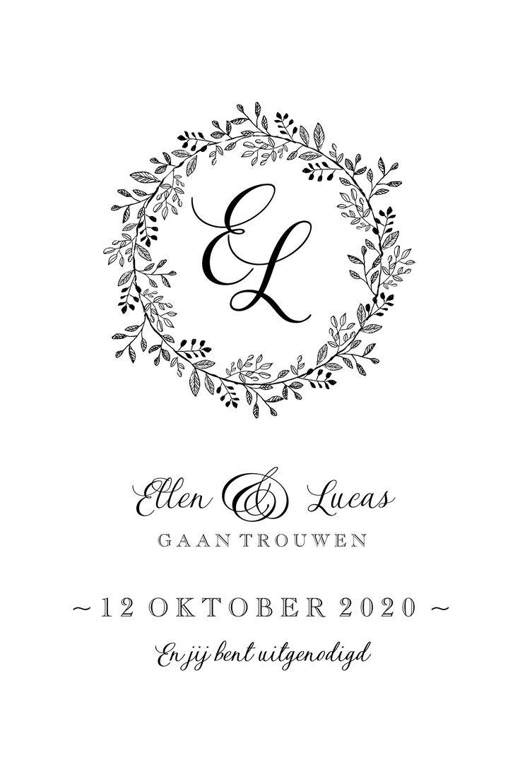 Mooie witte trouwkaart in zwart wit design. De bloemenkrans en het sierlijke lettertype geven deze huwelijksuitnodiging een vintage uitstraling.