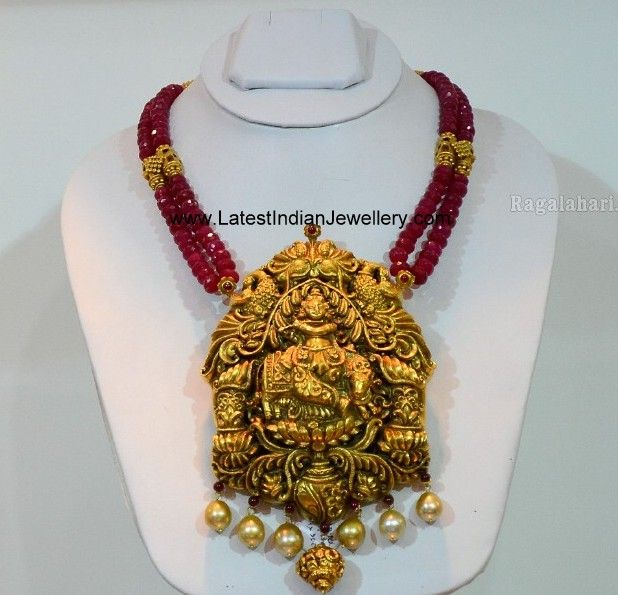 Ruby Beads Necklace Krishna Pendant