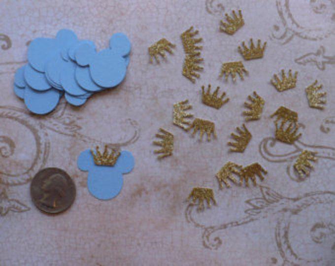 25 pulgadas 1 pequeño bebé Príncipe Mickey Mouse luz azul cabeza pequeña oro corona formas morir corta 4 Artesanias a bolsas etiquetas DIY niños artesanías fiesta de cumpleaños