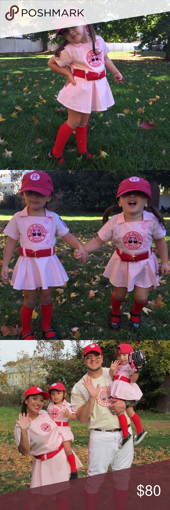 "Rockford Peaches kids costume ""There's no crying in baseball""  This absolutely adorable Rockford Peaches costume was the talk of the town last year for Halloween. Dad, our twin girls and I, all dressed up as Rockford Peaches, inspired from the movie, "" A league of their own "". This is a custom made dress with patches on the front and sleeve. It has a red belt and red bloomers. I will include the baseball cap and socks, ( which I purchased separately). This is one of a kind. Sorry, but price…"