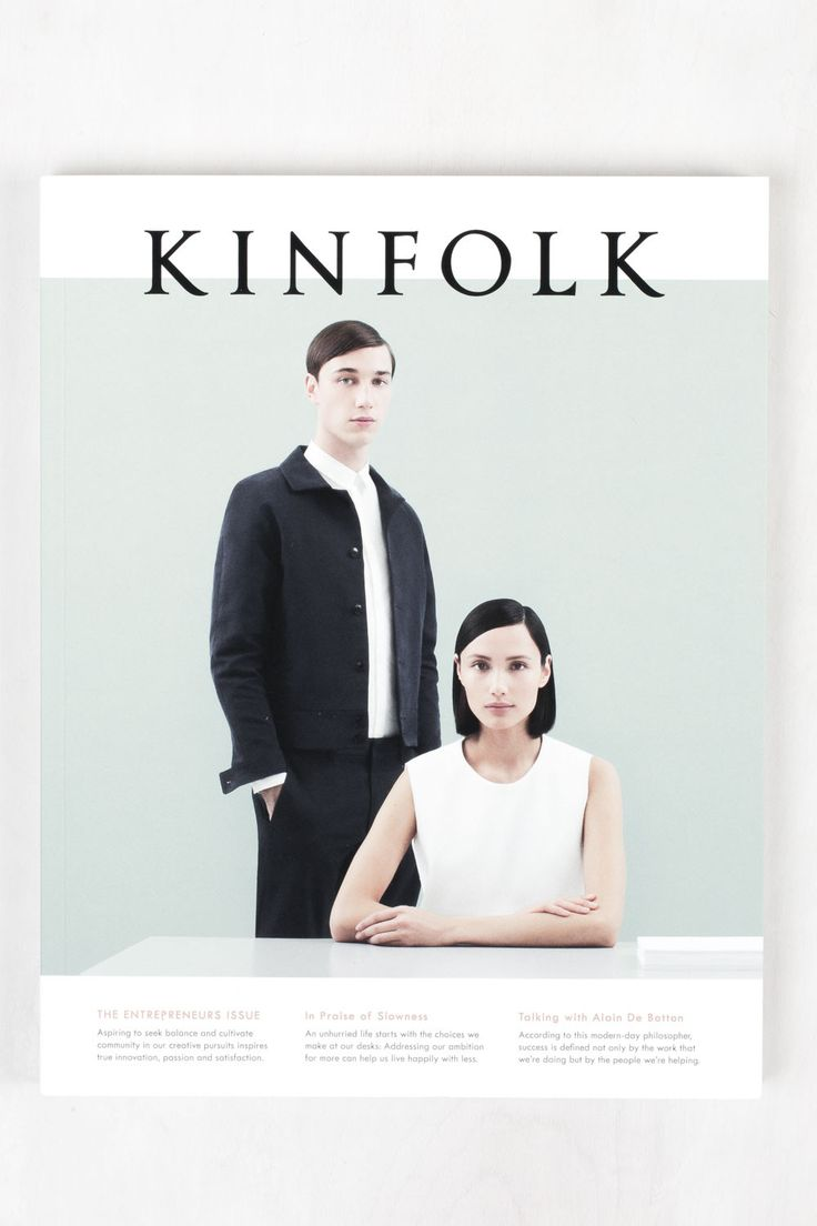 Print design ideas and inspiration. Graphic Design. Kinfolk Magazine cover. Simple, minimalistic style.