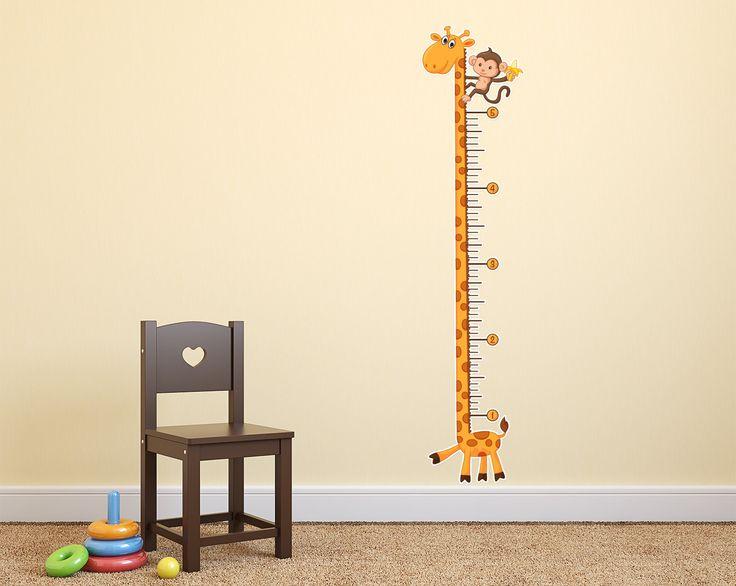 Giraffe Growth Chart Wall Decal  Kids  Giraffe nursery Baby Room Baby boy rooms