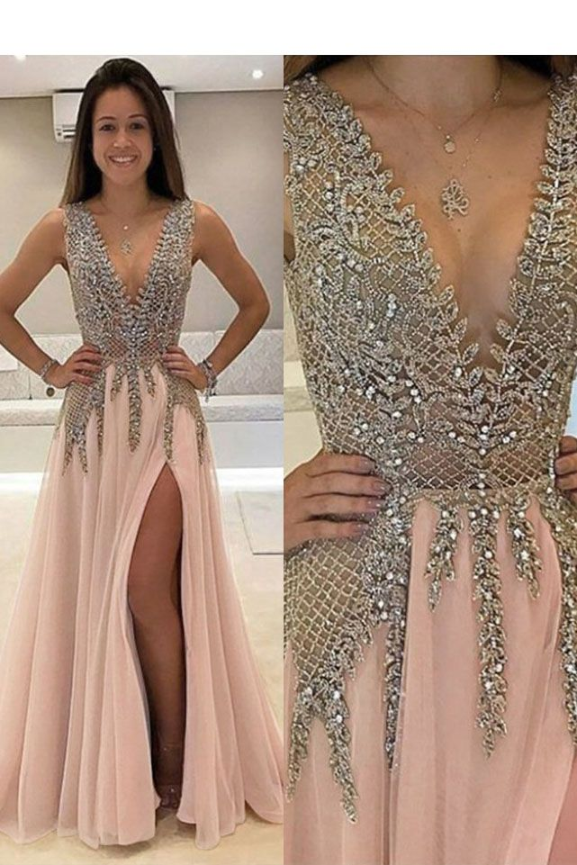 2ad0ae3db3 Sexy A Line V Neck Beads Open Back Tulle Slit Prom Dresses  longpromdresses   promdresses