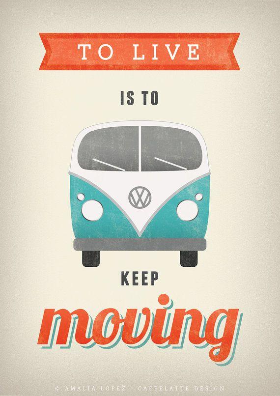 Volkswagen print. VW poster. Typography poster. by LatteDesign retro illustration vintage print