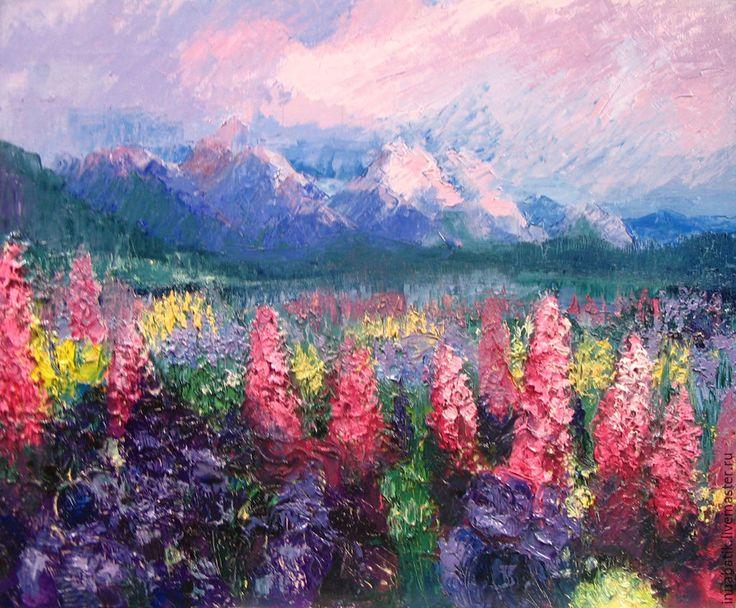 """Купить Картина маслом """"Бурное цветение"""" - темно-синий, розовый, фиолетовый, горный пейзаж, закат"""