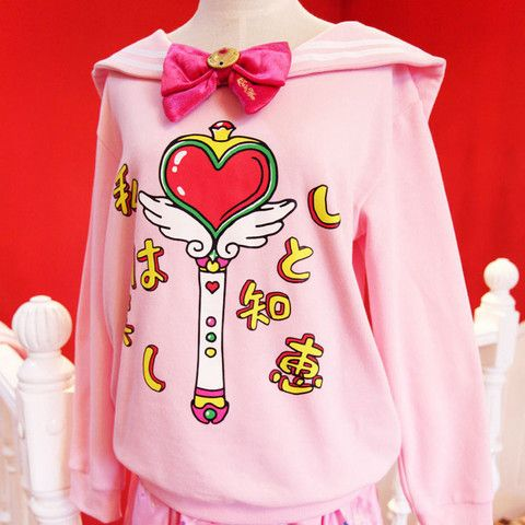 Harajuku Sailor Moon Bow Sweater  Way to pink but for Sailor Moon. I would wear.
