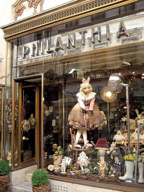 Window decorations and exterior in flowershop on the main shopping street in Budapest, Hungary #travel