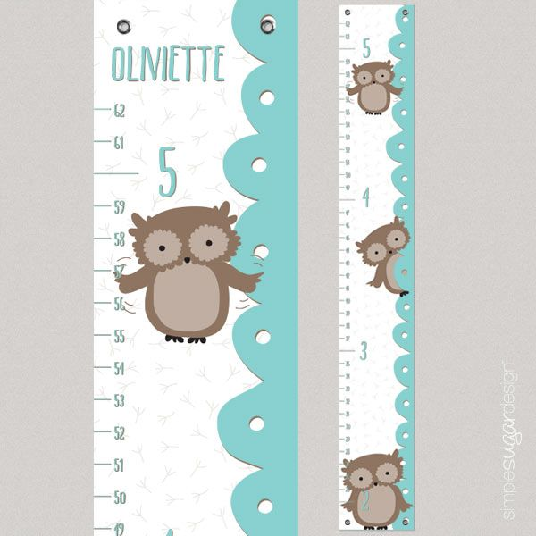 Owl Growth Chart By Simple Sugar Design Growth Chart Whimsical Owl Owl Collection