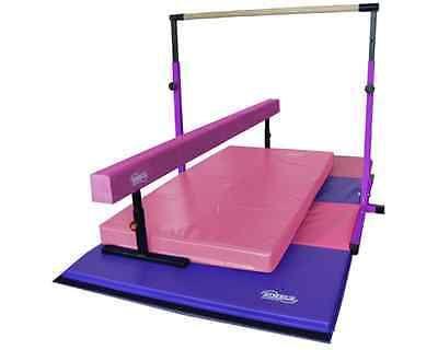 New Little Gym Deluxe -  Purple Junior Bar - Pink Balance Beam - Gymnastics Mats