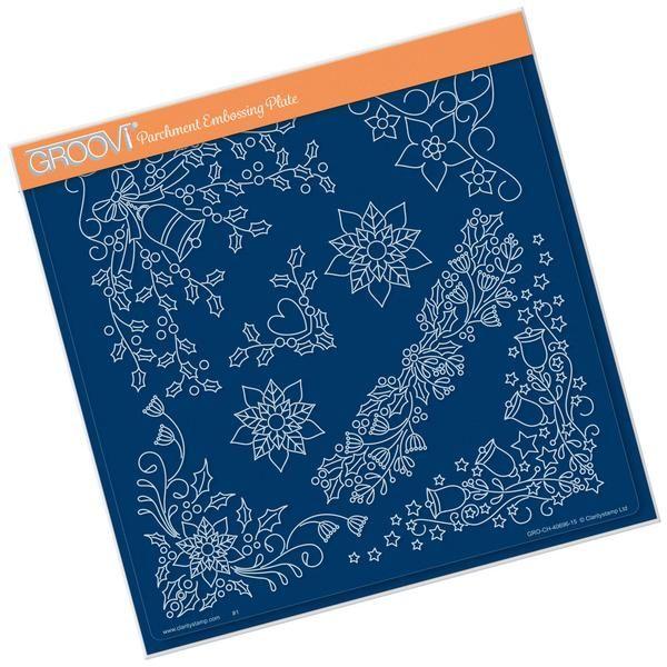 Tina's Christmas Corners 1 Groovi Plate A4 Square – Claritystamp