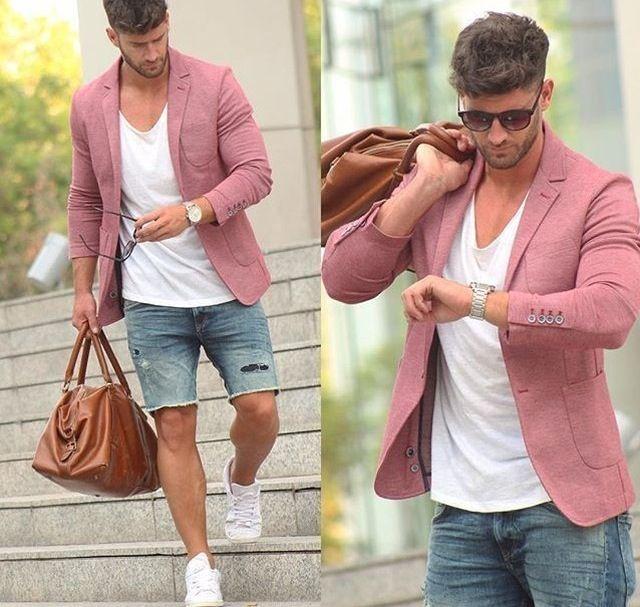 Look despojado com bermuda jeans destroyed e Blazer rosa ❤️