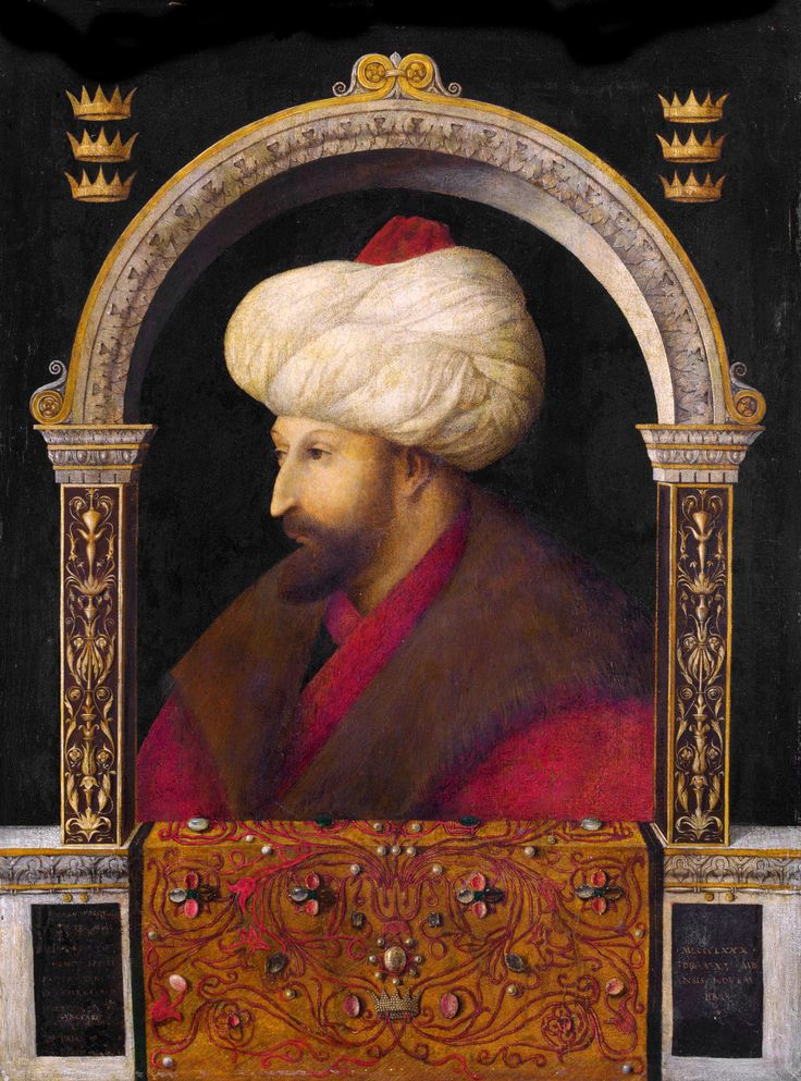 Portrait of Mehmed II by Venetian artist Gentile Bellini, 1480, oil on canvas, 69.9 cm (27.5 in). Width: 52.1 cm (20.5 in).