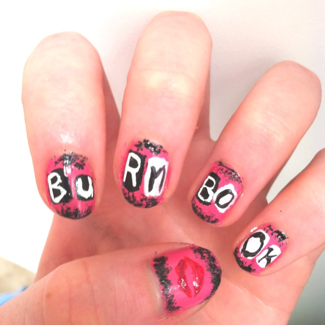 Black Nail Polish What Does It Mean: 'Burn Book' Nail Art From The Movie Mean Girls Haha