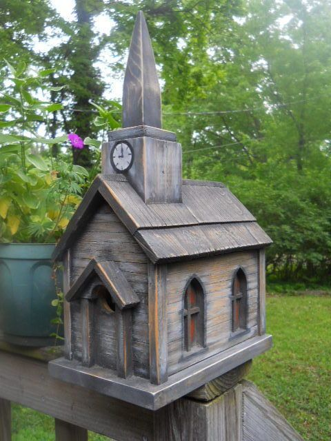 Birdhouse. Church with clock tower dollhouse display 2 nests.made in the USA.