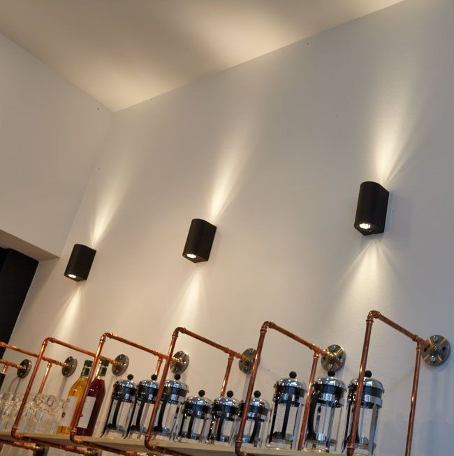 Nordlux Canto Wall Lights featured at William & Co. Bar, Brasserie & Wine Store. Fredericia, Denmark. Scandinavian Interior Design Lighting Architecture Copper Piping © Bonnelycke mdd