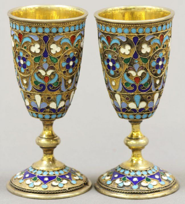 PAIR OF RUSSIAN SILVER CHAMPLEVE ENAMELED CUPS : Lot 10