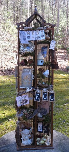 for the birds turn a cd stand into a bird themed curiosity cabinet, pets animals, The completed cabinet