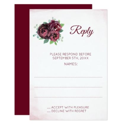 Burgundy Rose Bouquet Wedding Reply Cards - wedding invitations diy cyo special idea personalize card