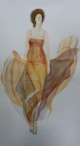 """Школа искусства костюма: последняя работа Наташи Голубевой на курсе """" Школа модного рисунка""""."""