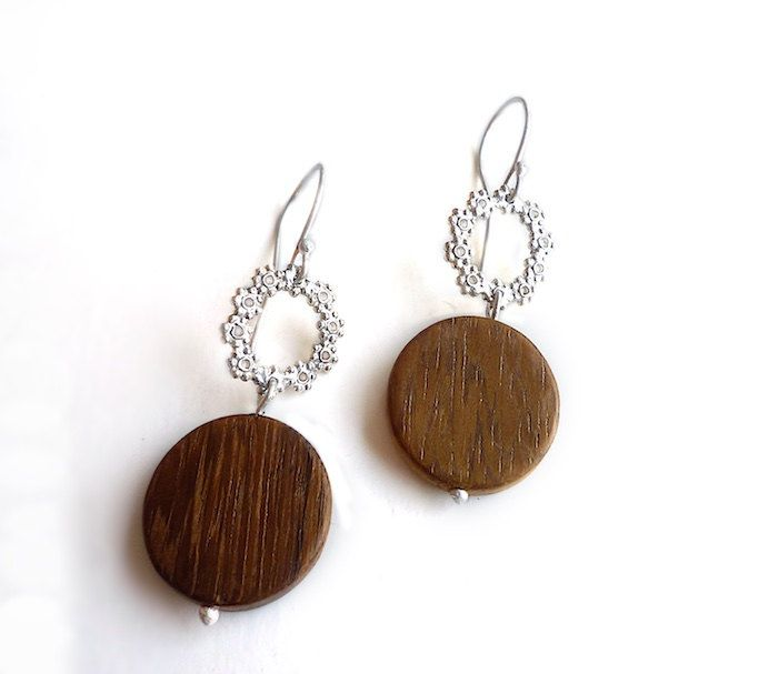 Sterling Silver Flower Wreath & Wood Earrings - Earrings 319 and 320 for EAD2015 by Maria Apostolou