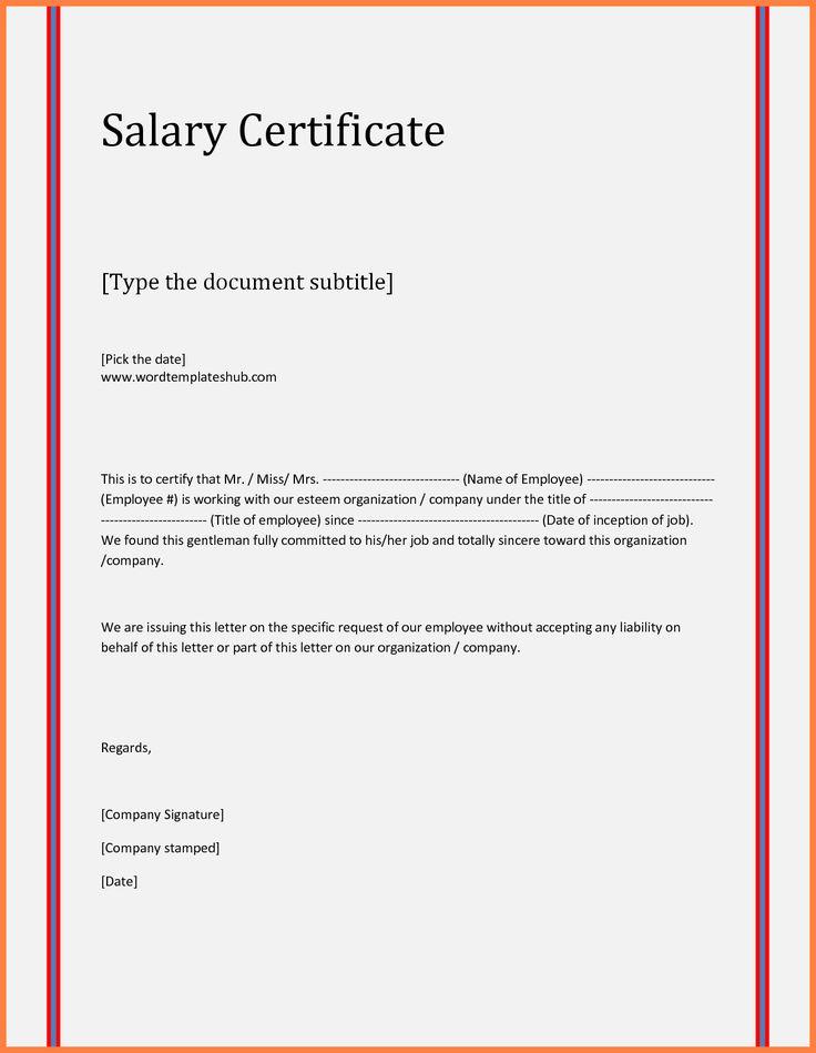 8+ salary certificate letter format word Salary Slip