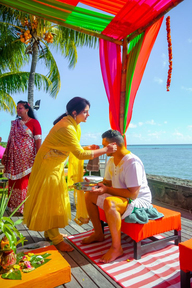 Haldi ceremony by the ocean...   Wedd In... Mauritius