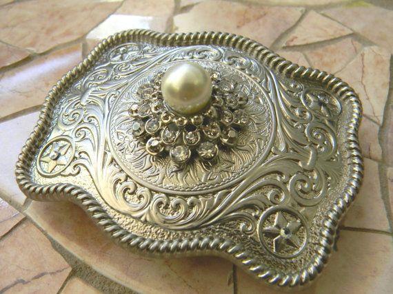 Rhinestone Pearl Belt Buckle Silver Western by StepOriginals, $34.99