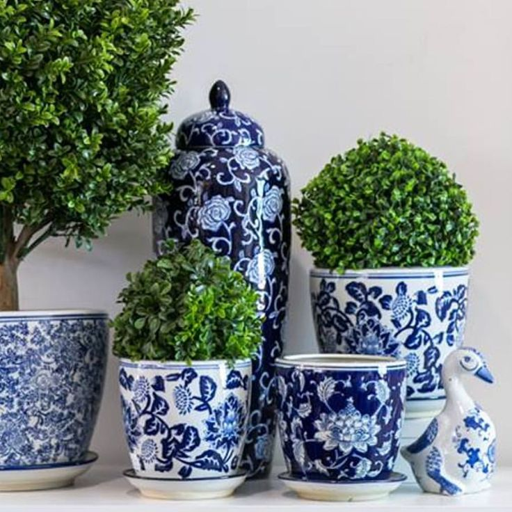"""493 Likes, 4 Comments - Hamptons Style (@hamptonsstyle) on Instagram: """"New stocks have arrived of our insanely popular blue & white planters """""""