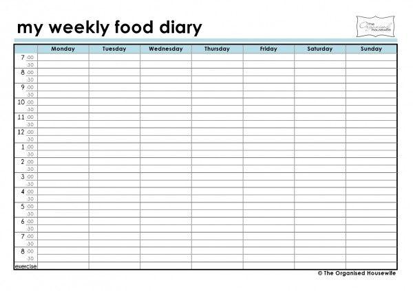 {FREE Printable} Weekly food diary | Food diaries ...