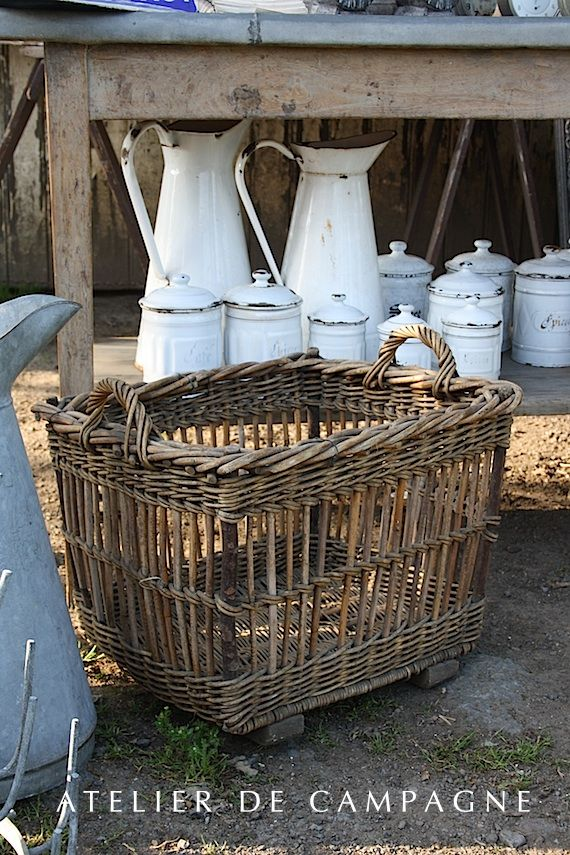 Wicker Basket and white emanelware: