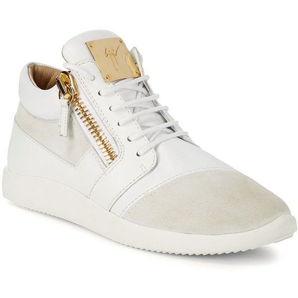 Giuseppe Zanotti Leather Suede Goldtone Mid-Top Sneakers ($350) ❤ liked on Polyvore featuring men's fashion, men's shoes, men's sneakers, giuseppe zanotti mens sneakers, mens leather lace up shoes, mens suede sneakers, mens leather dress shoes and mens suede dress shoes