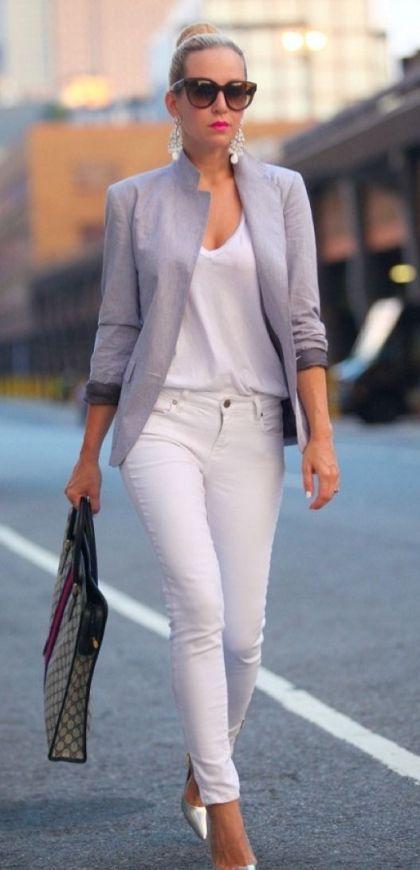 bc1f92bcb3 Cute Businness Outfit Idea Grey Blazer Plus Bag Plus V Neck Top Plus White  Pants Plus Heels
