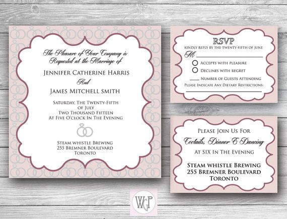 Olivia Wedding Invitation Set  Digital by WeddingGlitzPrints