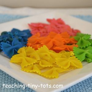 Toddler Math: Have Fun Making Colored Pasta. Hands On Counting, Sorting, and Pattern Activities!
