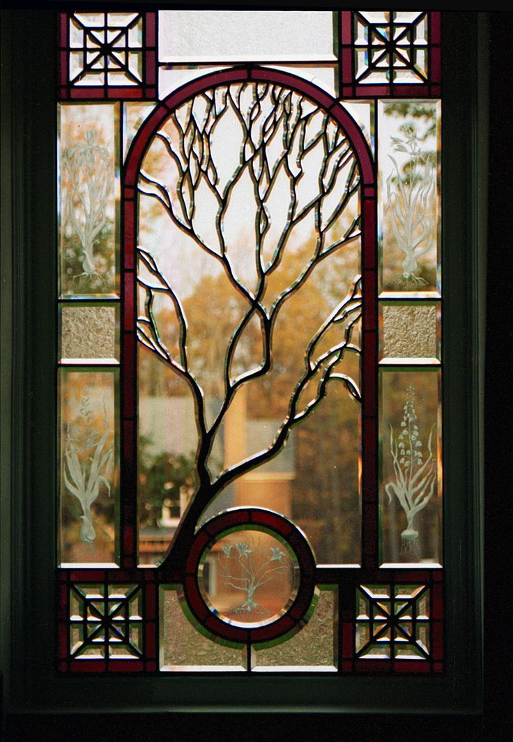 Contemporary Stained Glass | landing window in a contemporary home. Glass beveling, carving, and ...
