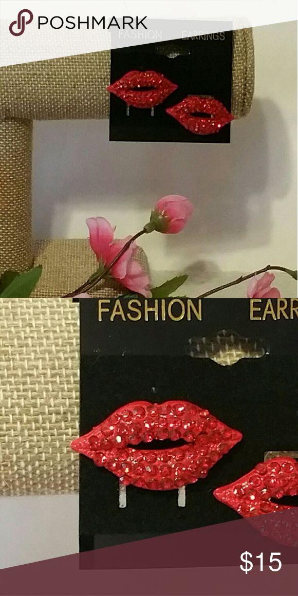 Red Crystal BLING Lips Stud Earrings Brand new! Red Crystal BLING Lips Stud Earrings GORGEOUS!! Jewelry Earrings