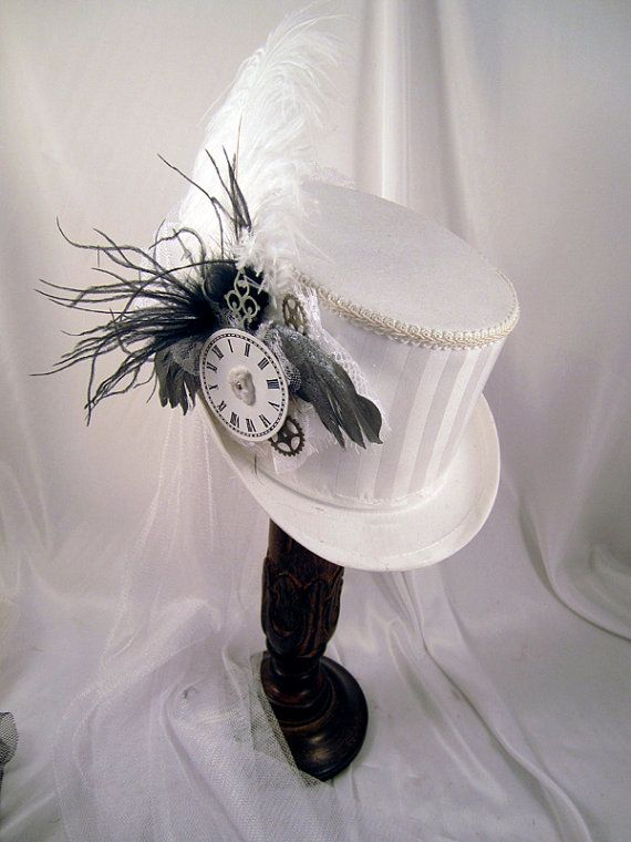 Steampunk White Riding Hat with White Stripe, White trim and Silver feather wings