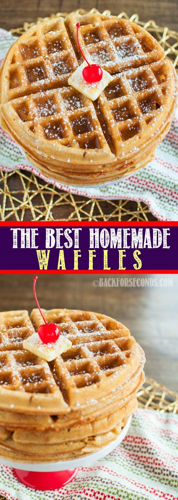 This recipe makes The BEST Homemade Waffles. Seriously! They are crispy on the outside and light and fluffy on the inside, just the way a waffle should be!