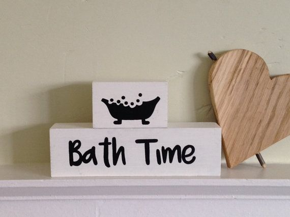 Bath time   Wooden Shelf Decor Blocks  painted wooden blocks  quote block   shelf sitter block  bathroom ornament  stacker blocks. 17 Best ideas about Bathroom Ornaments on Pinterest   Eclectic