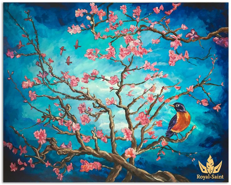 Simon Dokman  Blossoms in May, a painting inspired by the work of van Gogh and painted in my own artistic style.  Most noticeable changes from the original version is the more vivid colors, the blossoms and the birds.