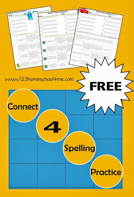 free connect 4 spelling practice just for the kiddies spelling practice spelling worksheets. Black Bedroom Furniture Sets. Home Design Ideas