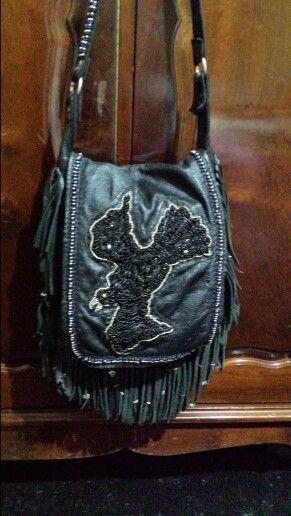 Crow bead charm bag