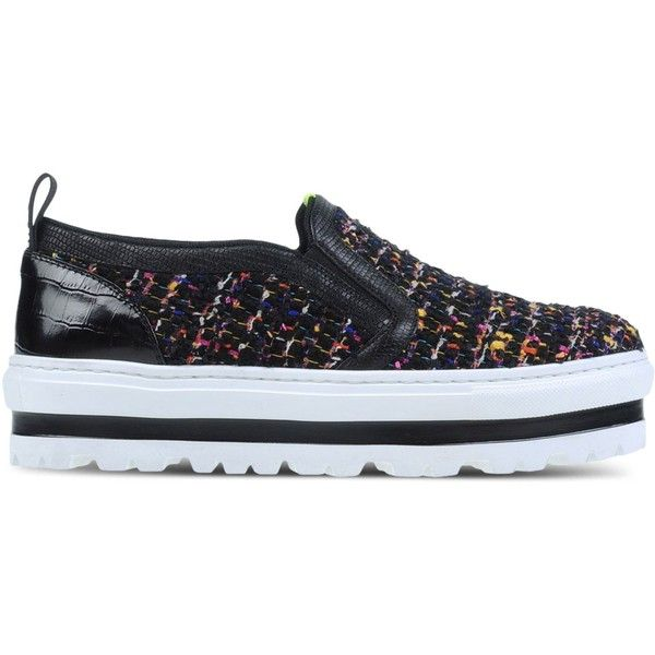 Msgm Low-Tops & Trainers ($340) ❤ liked on Polyvore featuring shoes, sneakers, black, wedge trainers, wedge heel shoes, crocodile sneakers, black trainers and black shoes